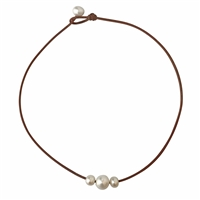 Fine Pearls and Leather Jewelry by Designer Wendy Mignot Daisy Three Pearl Freshwater Necklace White
