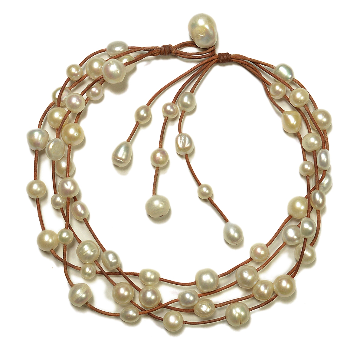Fine Pearls And Leather Jewelry By Designer Wendy Mignot Music Four Strand  Freshwater Necklace White