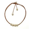 Fine Pearls and Leather Jewelry by Designer Wendy Mignot Versatile Four Freshwater Necklace White