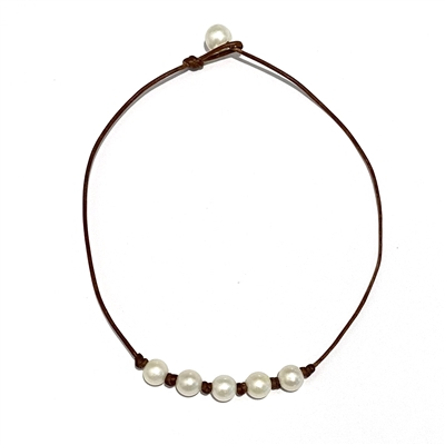 Fine Pearls and Leather jewelry by Designer Wendy Mignot Five Pearl Freshwater Necklace White with Knots