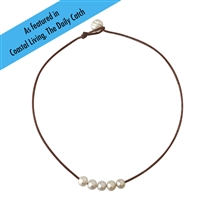 Fine Pearls and Leather jewelry by Designer Wendy Mignot Five Pearl Freshwater Necklace