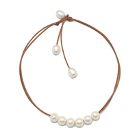 Fine Pearls and Leather Jewelry by Designer Wendy Mignot Versatile Six Freshwater Necklace White