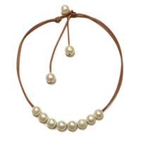 Fine Pearls and Leather Jewelry by Designer Wendy Mignot Versatile Eight Freshwater Necklace White