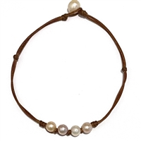 Fine Pearls and Leather Jewelry by Designer Wendy Mignot Bebe Four Pearl Freshwater Necklace Multicolor