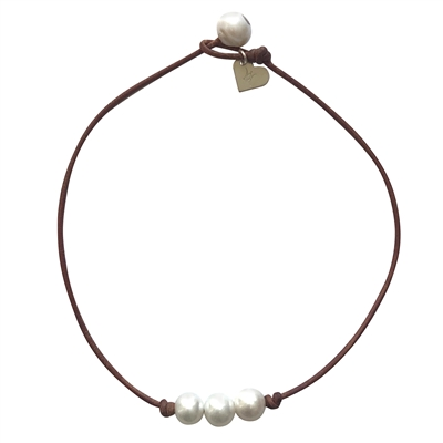 Fine Pearls and Leather Jewelry by Designer Wendy Mignot Bebe Daisy Three Pearl Freshwater Necklace White