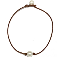 Fine Pearls and Leather Jewelry by Designer Wendy Mignot Bebe Coastal Single Freshwater Necklace White