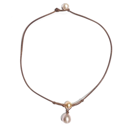 Fine Pearls and Leather Jewelry by Designer Wendy Mignot Grove Freshwater Pearl Necklace, Rose LTD