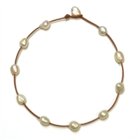 Fine Pearls and Leather Jewelry by Designer Wendy Mignot Illusion Freshwater Necklace White