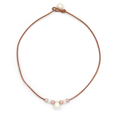 Fine Pearls and Leather jewelry by Designer Wendy Mignot Lilly Freshwater Necklace
