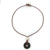 Ming Dynasty Bronze Coin and Freshwater Pearl Necklace