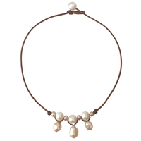 Fine Pearls and Leather Jewelry by Designer Wendy Mignot Mosey Freshwater Necklace Multicolor