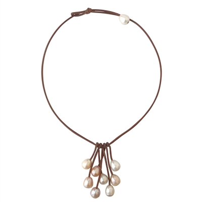 Fine Pearls and Leather Jewelry by Designer Wendy Mignot Parasol Eight Freshwater Necklace Multicolor
