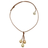 Fine Pearls and Leather Jewelry By Designer Wendy Mignot Rain Three Freshwater Necklace Multicolor