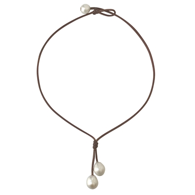 Fine Pearls and Leather Jewelry by Designer Wendy Mignot Rain Freshwater Necklace White