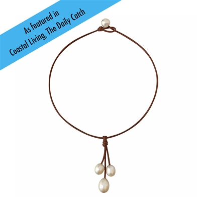 Fine Pearls and Leather Jewelry by Designer Wendy Mignot Rain Three Freshwater Necklace White