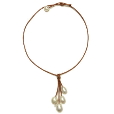 Fine Pearls and Leather Jewelry by Designer Wendy Mignot Rain Four Freshwater Necklace White