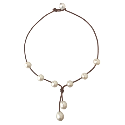 Fine Pearls and Leather Jewelry by Designer Wendy Mignot Seacrest Freshwater Necklace White
