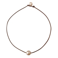 Fine Pearls and Leather Jewelry by Designer Wendy Mignot Coastal Single Freshwater Necklace Blush