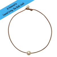 Fine Pearls and Leather Jewelry by Designer Wendy Mignot Coastal Single Freshwater Necklace White