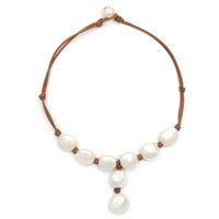 Fine Pearls and Leather Jewelry by Designer Wendy Mignot Stoplight Freshwater Necklace White