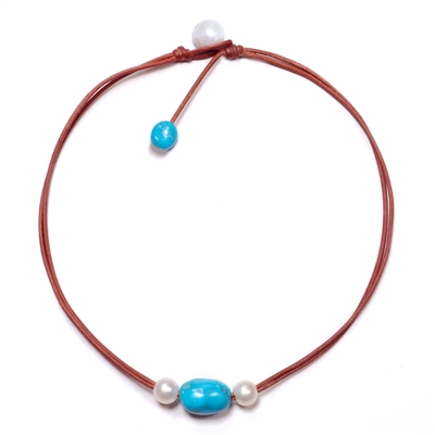 Fine Pearls and Leather Jewelry by Designer Wendy Mignot Versatile Freshwater Necklace, Turquoise