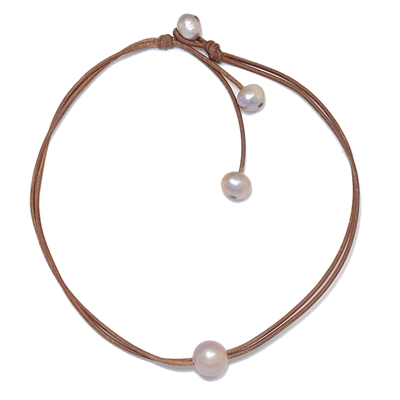 Fine Pearls and Leather Jewelry by Designer Wendy Mignot Wendy Signature Freshwater Necklace Rose LTD