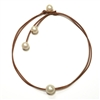 Fine Pearls and Leather Jewelry by Designer Wendy Mignot Wendy Signature Freshwater Necklace White