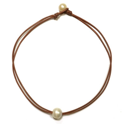 Fine Pearls and Leather Jewelry by Designer Wendy Mignot Zak Freshwater Necklace White