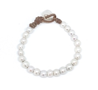 Fine Pearls and Leather Jewelry by Designer Wendy Mignot Classique Riviere Pearl Bracelet