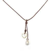 Amour Pearl Sandy Cay Heart Necklace | Fine Pearl and Leather by Wendy Mignot