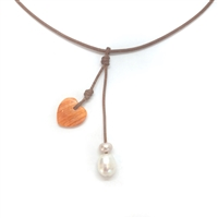 Amour Rain Lions Paw Shell Heart and Pearl Necklace | Fine Pearls and Leather by Wendy Mignot