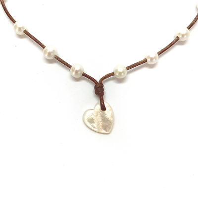 Amour Seacrest Pearl Heart Necklace | Fine Pearls and Leather by Wendy Mignot
