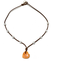 Amour Seacrest Lions Paw Shell Pearl Heart Necklace | Fine Pearls and Leather by Wendy Mignot