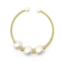Renoir 3 Pearl Bangle - White