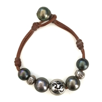 Fine Pearls and Leather Jewelry by Designer Wendy Mignot | Namaste Om Tahitian Bracelet