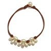 Fine Pearls and Leather Jewelry by Designer Wendy Mignot Lotus Flower Freshwater Anklet