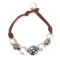 Fine Pearls and Leather Jewelry by Designer Wendy Mignot | Namaste Om Freshwater Bracelet