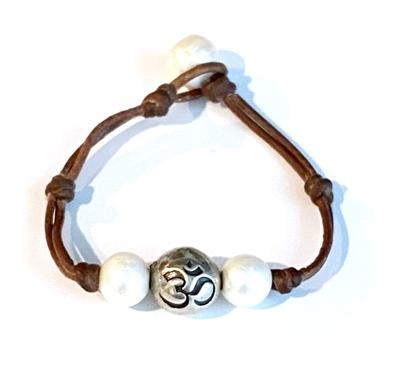 Fine Pearls and Leather Jewelry by Designer Wendy Mignot Om Woman Freshwater Bracelet