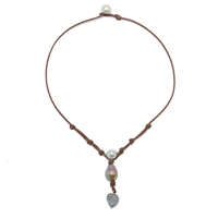 Fine Pearls and Leather Jewelry by Designer Wendy Mignot Lift Your Heart Freshwater Necklace, Limited Edition