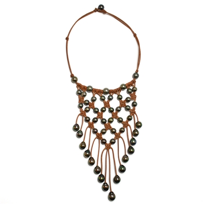 Fine Pearls and Leather Jewelry by Designer Wendy Mignot Metropolitan Tahitian Necklace