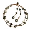Fine Pearls and Leather Jewelry by Designer Wendy Mignot Music Two Strand Tahitian Necklace