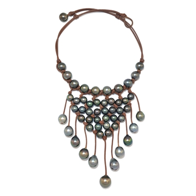 Fine Pearls and Leather Jewelry by Designer Wendy Mignot | New Urban Tahitian Necklace
