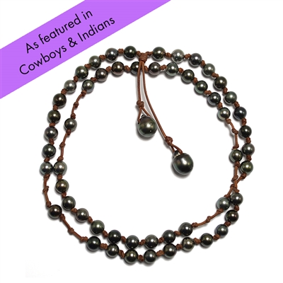 Fine Pearls and Leather Jewelry by Designer Wendy Mignot Rosemary Tahitian Necklace