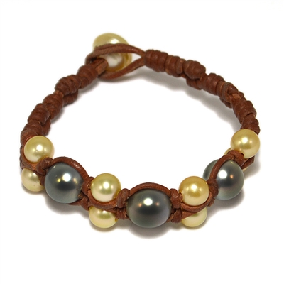 Fine Pearls and Leather Jewelry by Designer Wendy Mignot Wendy Tahitian Mixed Bracelet