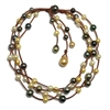 Fine Pearls and Leather Jewelry by Designer Wendy Mignot Music Four Strand Tahitian Mixed Necklace