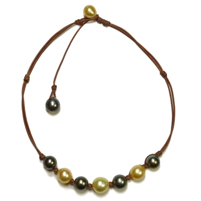 Fine Pearls and Leather Jewelry by Designer Wendy Mignot Suns Black and Gold Tahitian Mixed Necklace