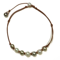 Fine Pearls and Leather Jewelry by Designer Wendy Mignot Suns Black and White Tahitian Mixed Necklace