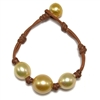 Fine Pearls and Leather Jewelry by Designer Wendy Mignot Three Pearl South Sea Bracelet Gold