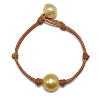 Fine Pearls and Leather Jewelry by Designer Wendy Mignot South Sea Single Bracelet Gold