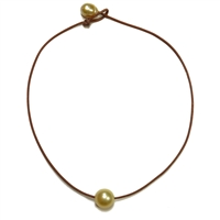 Fine Pearls and Leather Jewelry by Designer Wendy Mignot South Sea Single Necklace Gold